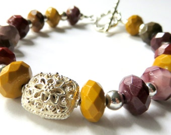 Beaded Mookaite Bracelet, Faceted Mookaite Gemstones, Sterling Silver, Toggle Clasp, Vibrant Colors, Genuine Gemstone Jewelry, Earthtones