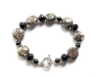 Turitella Agate Bracelet, Onyx Beaded Bracelet, Sterling Silver Toggle Clasp, Black Gemstone Fashion Bracelet, One of a Kind Gift for Her