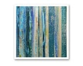 """Signed Abstract Print of Original Painting """"Blue Thunder"""" by Lisa Carney - Blue & Taupe wall art - modern stripe art - contemporary - 12x12"""""""
