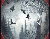 The Goddess Macha and the Unkindness of Ravens 16x20 Poster Print