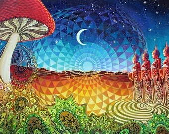 Buddha Bliss 11x14 Print Psychedelic Geometry Pagan Spiritual Sacred Geometry Goddess Art