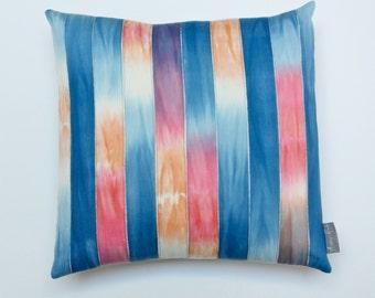 "16"" x 16"" Hand Dyed Twill Tape Appliqué Ombré Cotton Pillow Cover-- Home Decor- Interior Design- Peach- Blue- Sunset  #1800"