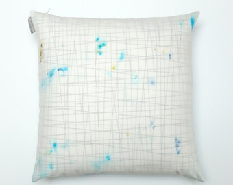 """Hand Dyed Splatter Drip Layered Cotton Voile Pillow Cover-  Turquoise- Black Lines- Home Decor- Interior Design- 18 x 18""""  #905"""