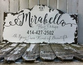 CUSTOM BUSINESS SIGN, Shabby Chic Business Sign, Home Office Sign, Office Sign, Logo Sign, Hand Painted Sign, Rustic Sign, Fleur De Lis