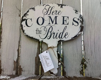 Here Comes the Bride Sign. Paddle. Photo Booth Props. Chalk Board Sign. Wedding Signs. Distressed Signs. Rustic Wedding. Photo Props.