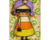 Candy Corn Witch - A Halloween mixed media painting reproduction on paper, or mounted on wood blocks ACEO, handmade by Danita Art