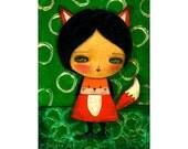 Red Fox Girl -    A Halloween mixed media painting print handmade Danita Art, whimsical girl mounted on wood or frameable paper print
