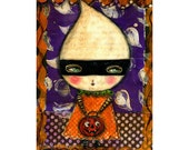 Ghost girl with pumpkin -  A Halloween mixed media painting print Danita Art, whimsical girl mounted on wood or frameable paper print