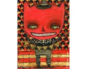 Wicked Red Devil Boy -   Halloween mixed media painting print made Danita Art, whimsical girl mounted on wood or frameable paper print