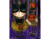 A black cat and her good pumpkin -  Halloween mixed media painting print Danita Art, whimsical art on wood or frameable paper print