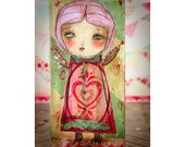 Valentine Cupid #6 - An original Valentine's Day Cupid angel girl, it's a paper collage painting created by Danita Art