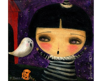 Little witch girl running from ghost - Halloween mixed media print painting Danita Art, whimsical art on wood or frameable paper print