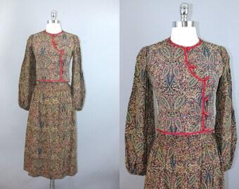 Vtg 80s Ungaro Parallele paisley printed peasant bohemian jacket blouse skirt sz 0 - XXS