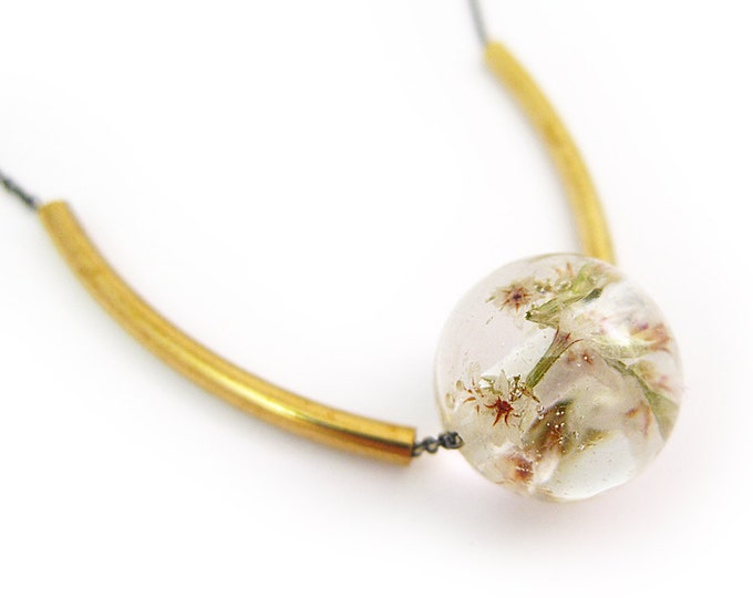Flower Sphere Necklace • Science Jewelry • Resin Flower Pendant • Eco Resin Specimen Jewelry • Terrarium Statement Jewelry