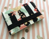 Floral and stripes passport case - black and white stripes print fabric passport case, passport wallet