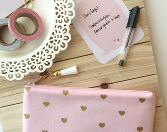 Gold Hearts - cute pink planner pouch, pencil bag with tassel pull