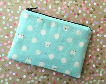 Kitty Cat on Mint - Change purse, zipper pouch, coin purse