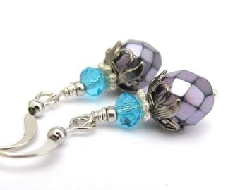 Purple Earrings, Bridesmaid Earrings, Purple Wedding, Dainty Earrings, Amethyst Purple Earrings, Boho Bohemian Earrings, Hawaiian Jewelry