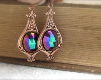 Art Nouveau Earrings, Copper Earrings, Art Deco Earrings,  Boho Bohemian Earrings, Antiqued Copper, Wedding Jewelry, Hawaii Beads Jewelry