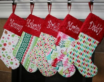 Embroidered Family Christmas Stockings Personalized Christmas Stockings