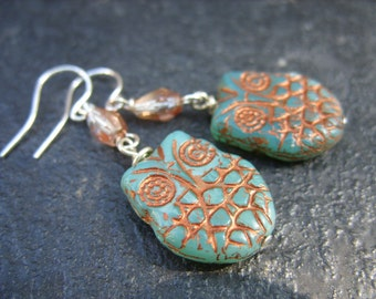 Turquoise Blue and Copper Owl, Crystal and Sterling Silver Dangle Earrings