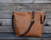 Tan Leather CrossBody Purse - Fold Over Clutch - Convertible 3  Way Purse - Bucket Bag / Leather Bag / Feral Empire