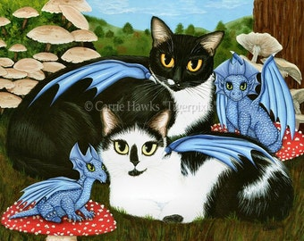 Cat Art Dragons Tuxedo Cow Cats Mushrooms Fantasy Big Eye Print 12x16 Art For Cat Lovers Gift