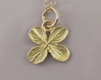 14k Yellow Gold Flower Necklace - Tiny Hydrangea