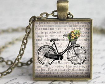 Vintage Bicycle on Newsprint Pendant, Necklace or Key Chain