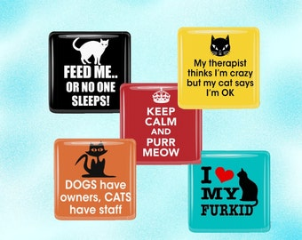 Cat Lovers Magnet Set - Funny Cat Sayings Magnet Set