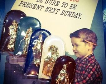 1pc FLAT POCKET SHRINE Vintage Religious Tiny Choose Your Own