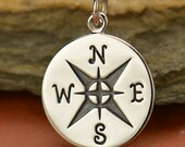 Large Sterling Silver Compass Pendant - Nautical - Direction - Find your Way - East West North South - DIY Jewelry Travel Charm - Journey