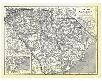 Instant Download Pre-World War I Antique Map, South Carolina 1910, Monochrome, Charleston, Hilton Head Island, Myrtle Beach, 62 megapixels
