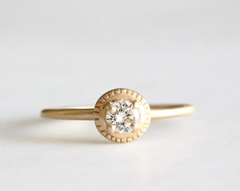 14k gold diamond engagement ring, eco friendly, diamond ring, milgrain texture