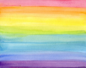 Rainbow Watercolor Painting 9 x 12 original Abstract watercolors painting, all the colors of the rainbow decor  Abstract painting