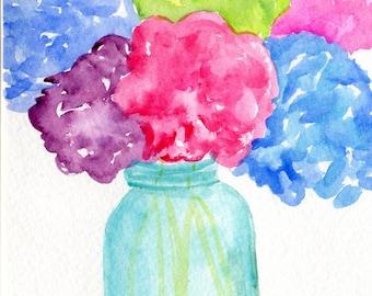 watercolor painting, Hydrangeas in Aqua Mason jar watercolor, Original still life flowers painting in canning jar 5 x 7 minty home decor