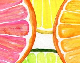 Lemon, Orange, Limes slices original, Watercolor Painting,  Fruit art 4 x 6 kitchen decor, Citrus Watercolors Paintings