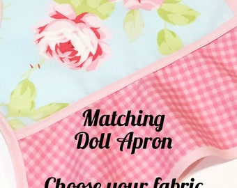 "Doll Apron, 18"" Doll Apron, Matching Doll Apron, Little Girls Apron, Child's Apron, Toddler Apron  -  MATCHING DOLL APRON"