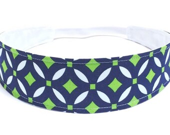Headband Reversible Fabric  -  Navy Blue & Green Geometric Print  -  Seahawks Blue Green - Headbands for Women - BLUE GREEN GEOMETRIC