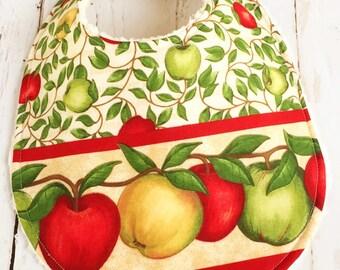 Baby Bibs for Baby Girl  - Apple Orchard Baby Bib  -  Triple Layer Chenille  - APPLE of MY EYE