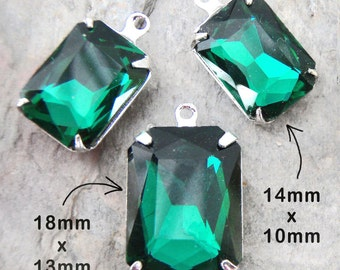 Emerald Green Glass Beads, Pendant Earrings Set, Silver Plated Brass Settings, Octagon, 14mm x 10mm, 18mm x 13mm, Dark Green, Glass Gems
