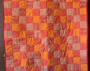 Bright Sunshiney Day Quilt  - Orange, red, yellow #212