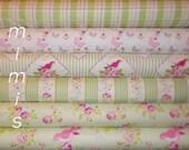 Zoey's Garden by Tanya Whelan Fabric /GREENS / PINK Roses, Butterflies, Birds / 6 Half Yard Bundle Cotton Quilting Fashion Fabric