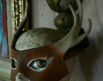 Deer mask, leather mask, white tail deer with antlers, nature greenman costume