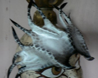 Dragon Rider costume headpiece,  silver scales with black spikes, all leather
