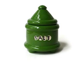 Dark Green Ceramic Salt Jar with Feet