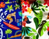 PAIR Hula Girls or Surfers Burlap HO Ho Ho Hawaiian Christmas Stockings just in time for Mele Kalikimaka