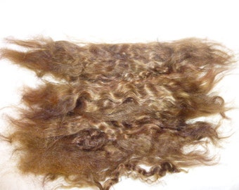 Walnut brunette brown combed real mohair locks doll wig hair