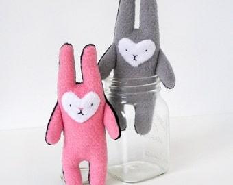 SALE - Two Sad Buns - A pair of small sad bunny plush toys