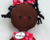 cloth rag doll African American handmade Olivia in red and pink polka dots